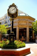 Cheesecake Factory behind Americana Clock in Glendale, CA